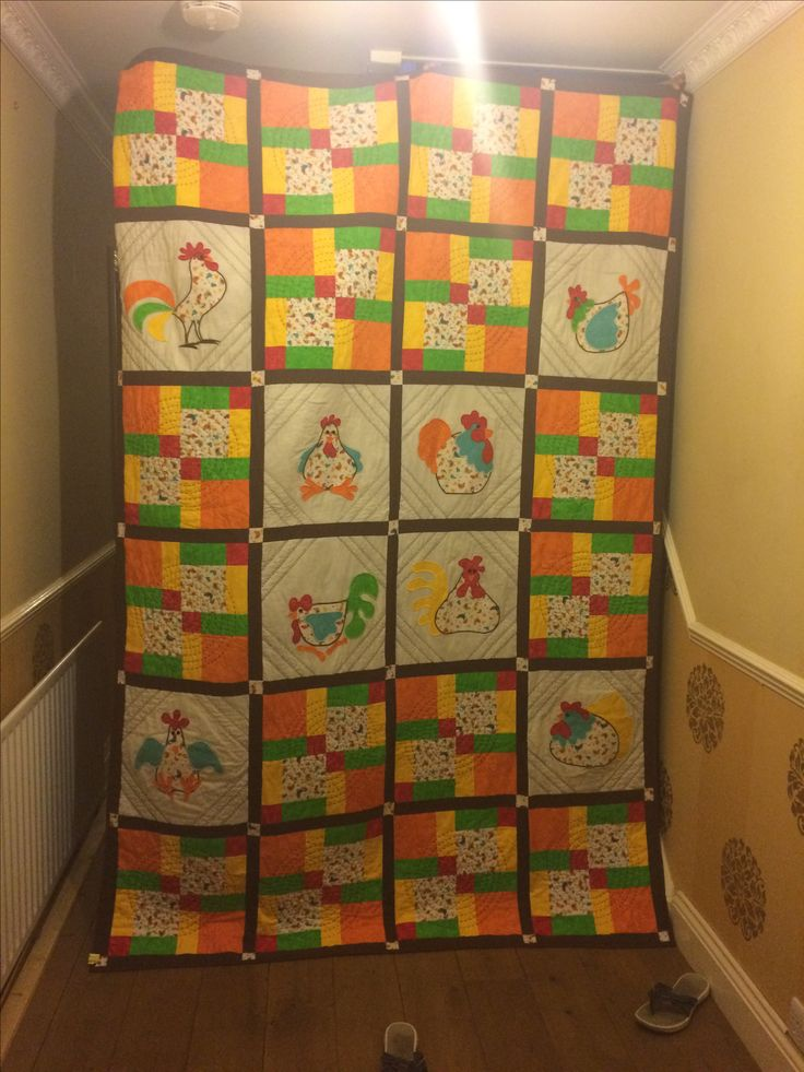 I made this 'Chicken Quilt' for my friend Chip, 'cause she LOVES chickens.