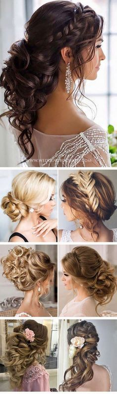 bridal wedding hairstyle inspiration for long hair I love the the first hairstyle pictured and the one in the left. The rest are WAYYY too big for my taste lol