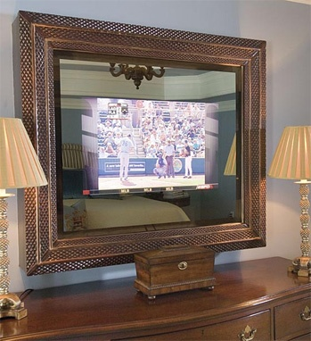 perfectly disguised as a mirror the television screen can only be seen when