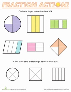 FREE Fractions of Shapes: 3/4. Fractions can be a tough concept, but with these Fractions of Shapes worksheets, your child will be an expert in no time! He'll pick out the shapes that show the fraction 3/4, a great way to visualize the meaning of fractions. Pinned by Generation iKid.