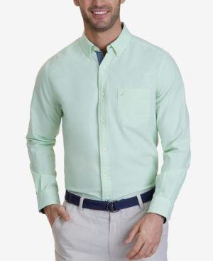 Nautica Men's Contrast-Trim Oxford Shirt - Green XXL
