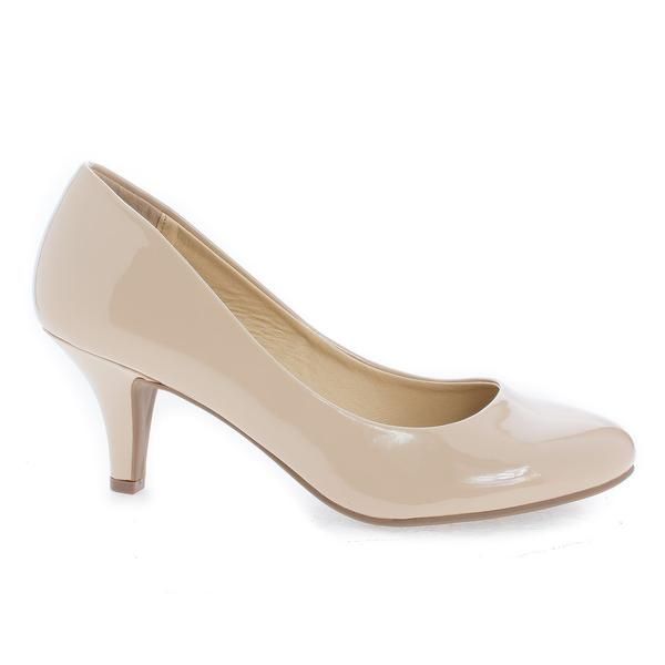 Carlos Beige Patent Round Toe Extra Comfort Classic Dress Pumps