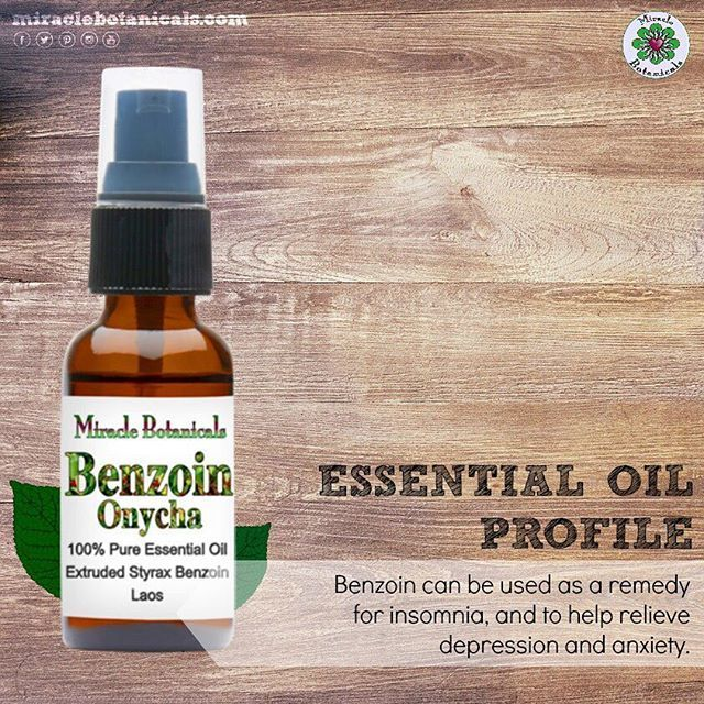 Benzoin essential oil has powerful sedating and relaxing properties. It can be a great cure for insomnia, and it also helps relieve depression and anxiety. Purchase it in therapeutic grade on our website: miraclebotanicals.com