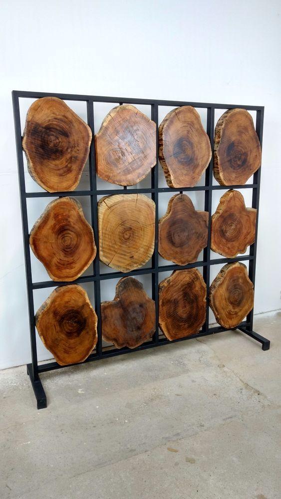 Details Zu Raumteiler Stellwand Trennwand Sichtschutz Massiv Holz Baum  Scheiben Design Loft