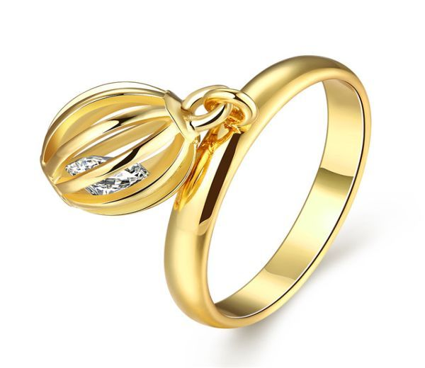 Inel placat cu aur de 18k, 2 microni, pandant cu piatra zirconia