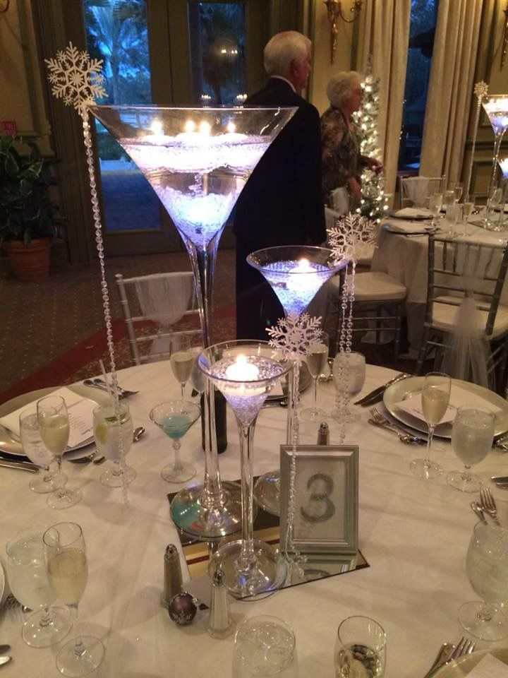 Martini glass centerpieces for a winter wedding