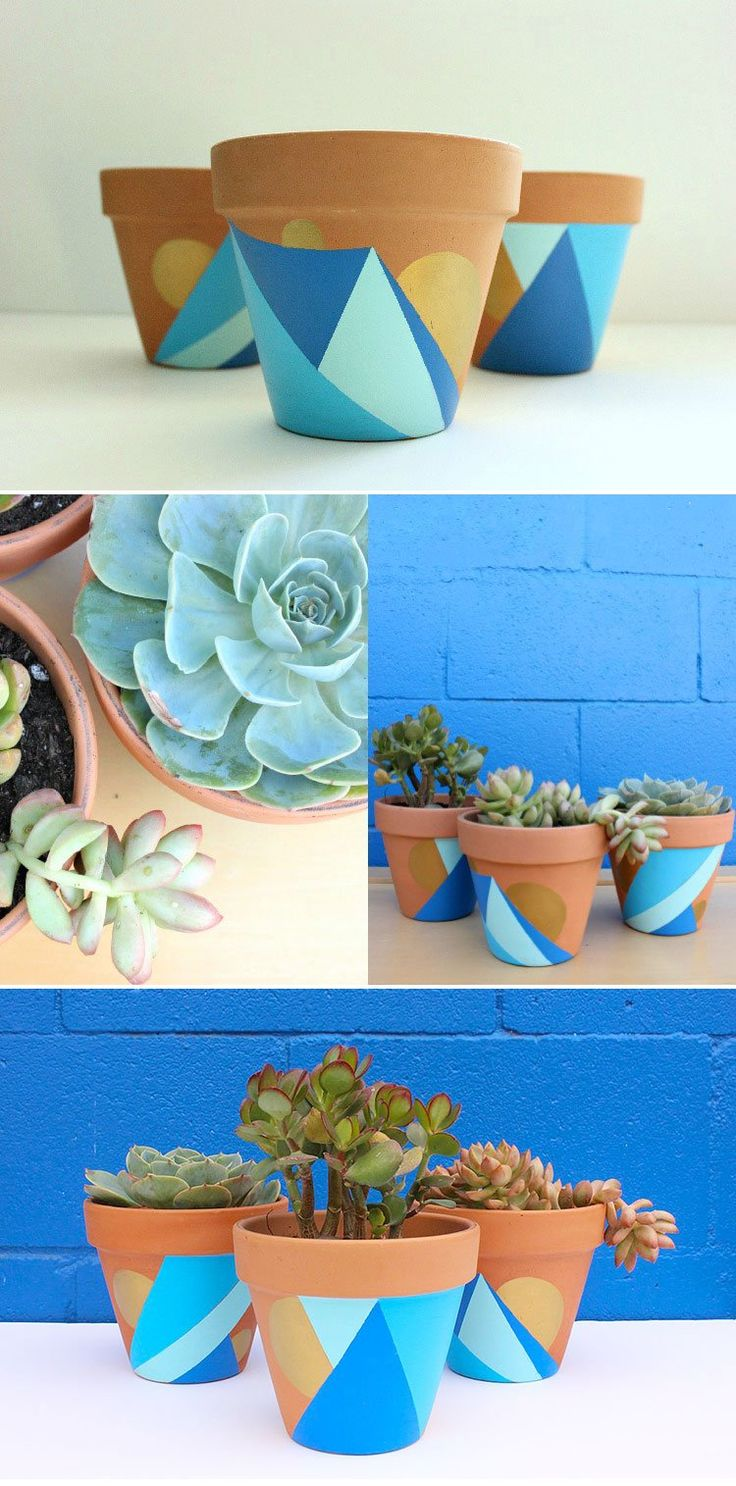 DIY: Geometric Painted Pots - the perfect way to show off your succulents and dress up your windowsill or patio!