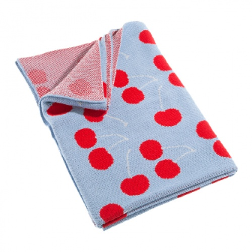 Little Bonbon Cot Blanket - Very Cherry - 100% Cotton Knit - available at As Your Child Grows - asyourchildgrows.com.au