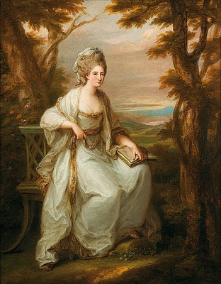 Angelica Kauffmann, Portrait of Anne Loudon-Lady Henderson of Fordell, 1771 (you can see the influence of Gainsborough in her landscape and use of shapeless patches of color. She also leaves the woman outside with nature which was a very popular setting during this time. We see this with Gainsborough and reynolds as well)