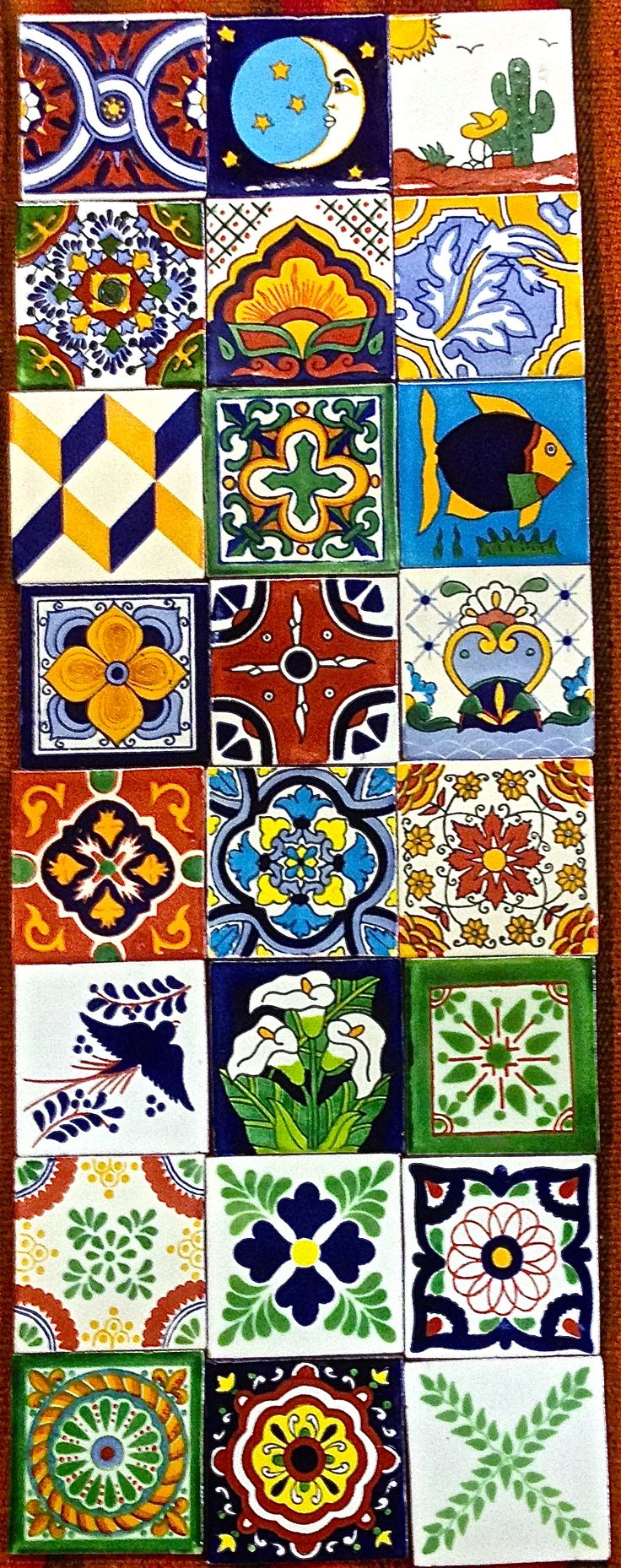 If you are looking for the rustic, antique look of Old Mexico, traditional tile is perfect for you. We have over 100 Talavera rustic, antique-look styles to choose from. Individually hand-painted in Mexico and red clay fired in wood kilns in the traditional method, slight variations in color and crazing are normal and part of the charm!