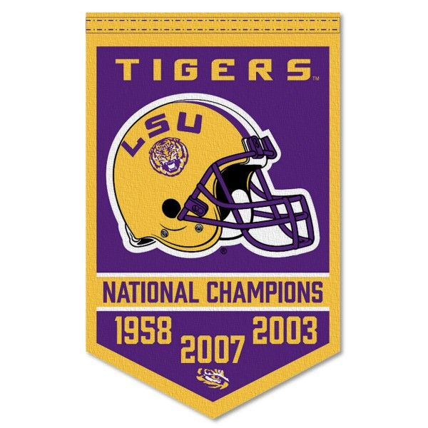 Lsu Tigers 3 Time Football National Champions Banner Consists Of Our Sports Banner Which Measures 15x24 Inches Is Constructe National Champions Lsu Lsu Tigers