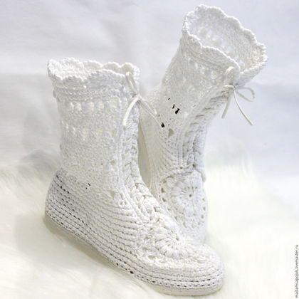 """Обувь ручной работы. Заказать Сапожки хлопковые """"Белоснежные кружева"""". Мадам…"""