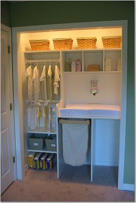 Baby Storage Closet- good idea for a small bedroom to have the changing table in the closet...unless you need the closet!