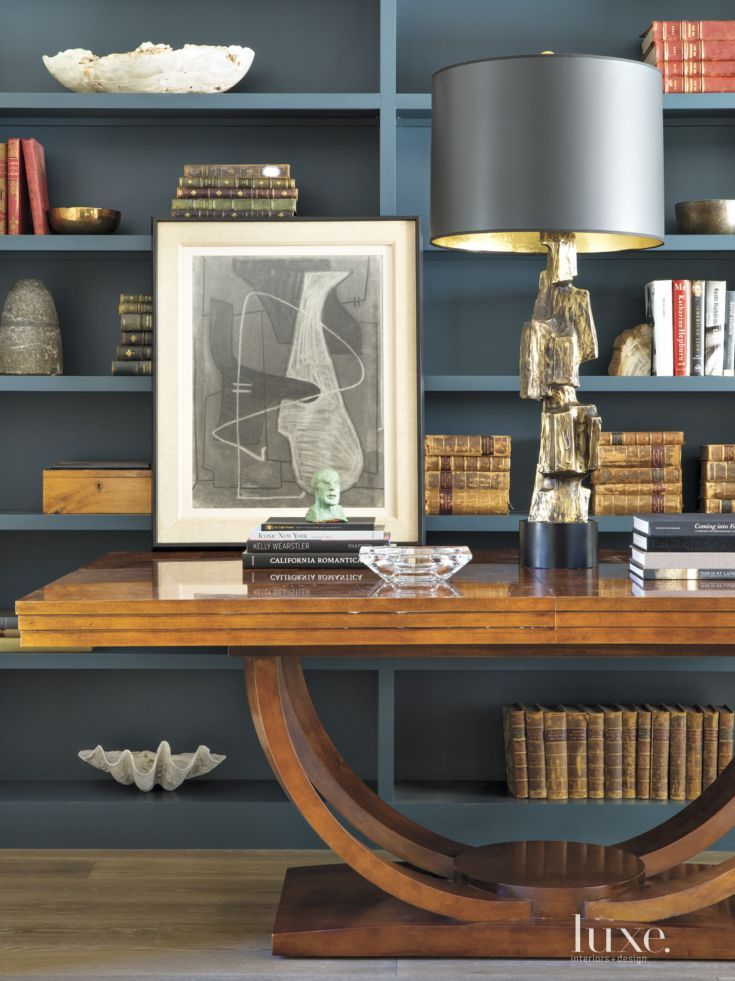 From Luxe Interiors Design Contemporary Study Built In Shelves
