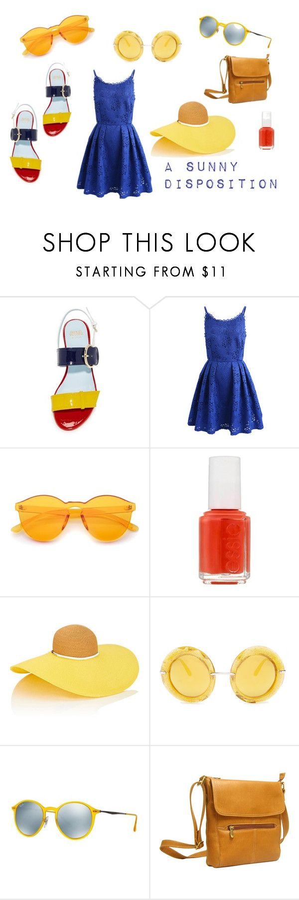 """""""Sunny Eyes; Blue Skies"""" by cantaloupe-milkshake on Polyvore featuring Frances Valentine, Chicwish, Essie, Eugenia Kim, Dolce&Gabbana, Ray-Ban and Le Donne"""