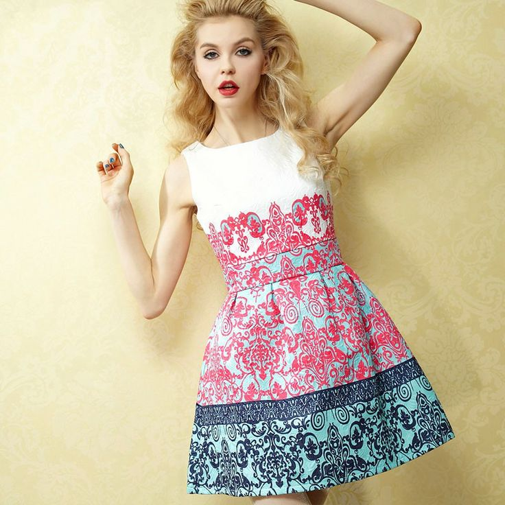 Buy Fashion Clothing - Sleeveless Floral Printed Women's Casual Dress - Casual Dresses - Dresses