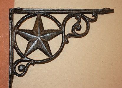 "TEXAS LONE STAR CAST IRON SHELF BRACKETS, COUNTRY STYLE CAST IRON SHELF BRACKETS, 6 1/2"" X 9"", B-19"