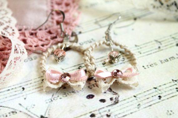 Champagne Lace Earrings / Very Small Boho Hoop by byHamelin