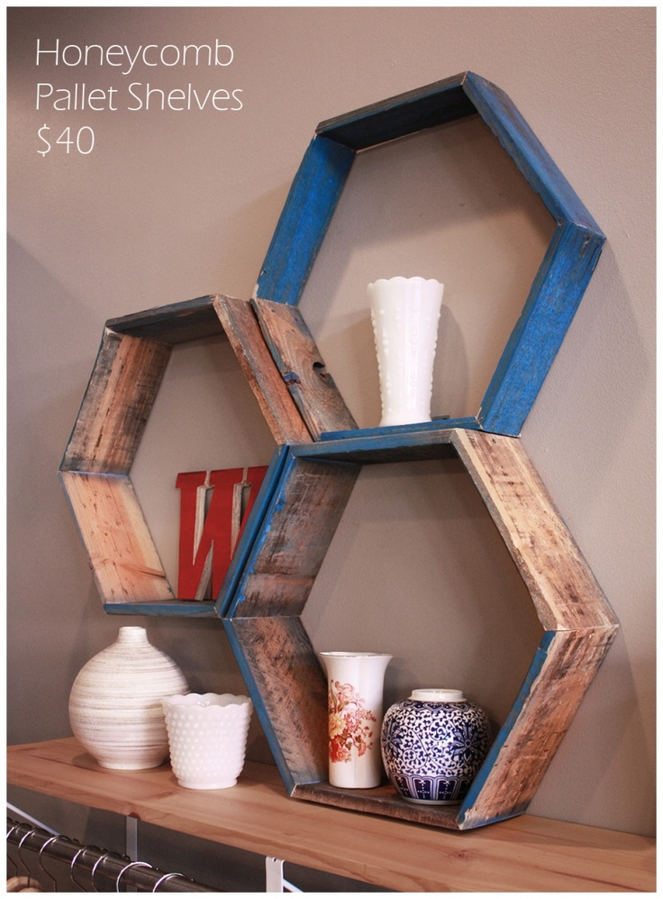 Awesome weathered wood honeycomb shelves. Love that it's partially painted.