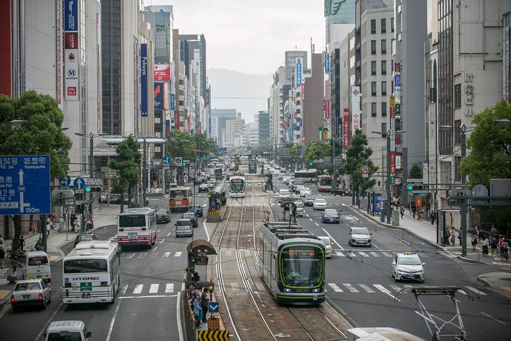 Vehicles travel near Hondori, through downtown Hiroshima.