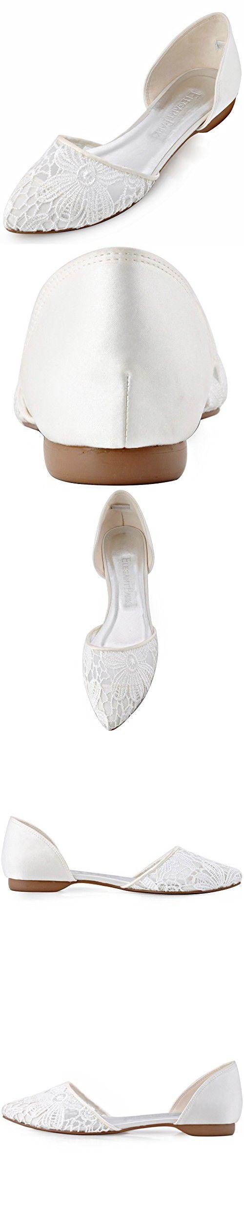 ElegantPark FC1527 Women Pointed Toe Comfort Low Heel Vintage Lace Wedding Flats Ivory US 10