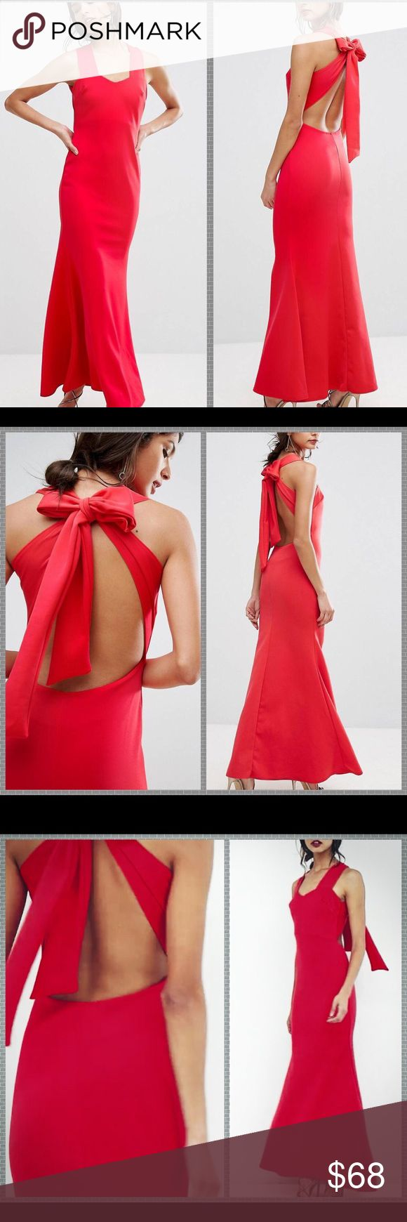 NWT ASOS open back red maxi dress Smooth stretch fabric Sweetheart neck Cut-out back Bow design Slim fit - cut close to the body Machine wash 95% Polyester, 5% Elastane Our model wears a UK 8/EU 36/US 4 and is 5'8 ASOS Dresses Prom