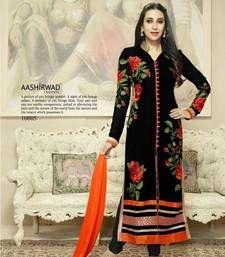 Buy black georgette  embroidered semi_stitched salwar with dupatta wedding-salwar-kameez online