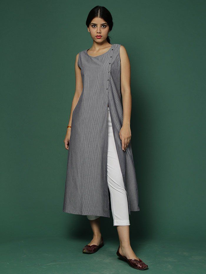 Dark Grey Yarn Dyed Pin Striped Cotton Kurta