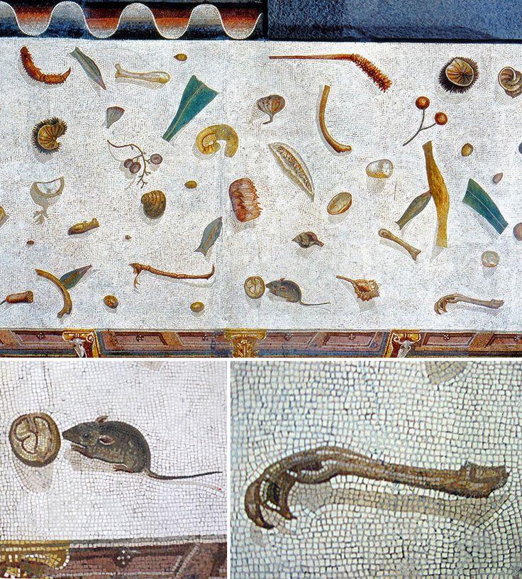 Mosaico proveniente da Vigna Lupi, Roma, e risalente al II sec. a.C. (oggi ai Musei Vaticani), mostra rifiuti sparsi sul pavimento.