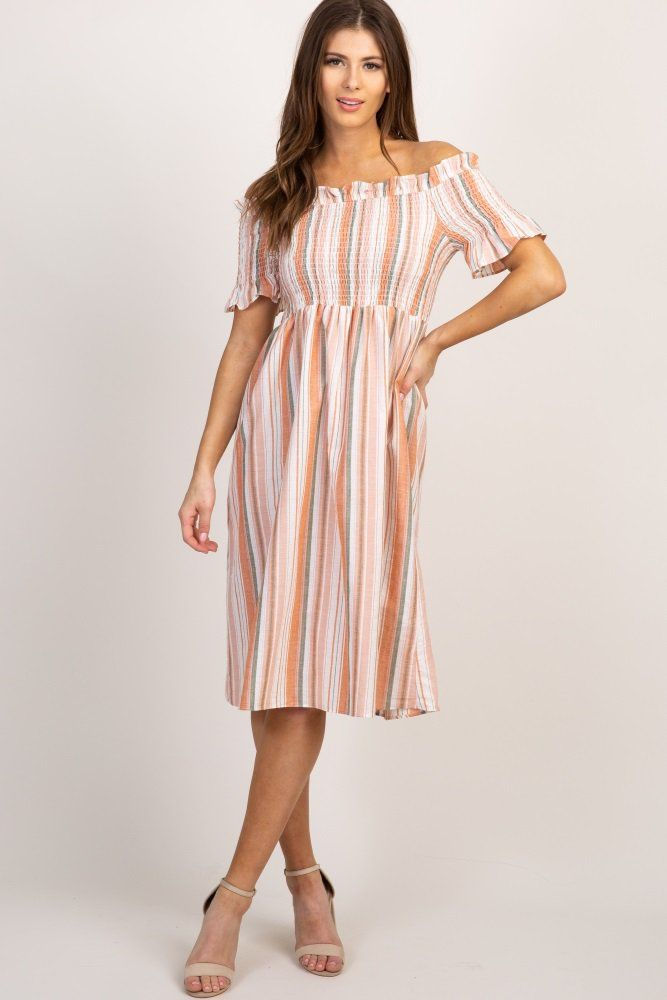 c3350e17a6c Peach Striped Smocked Off Shoulder Maternity Dress in 2019 ...