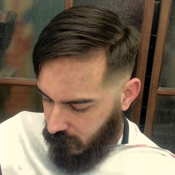 nice side part with pomade