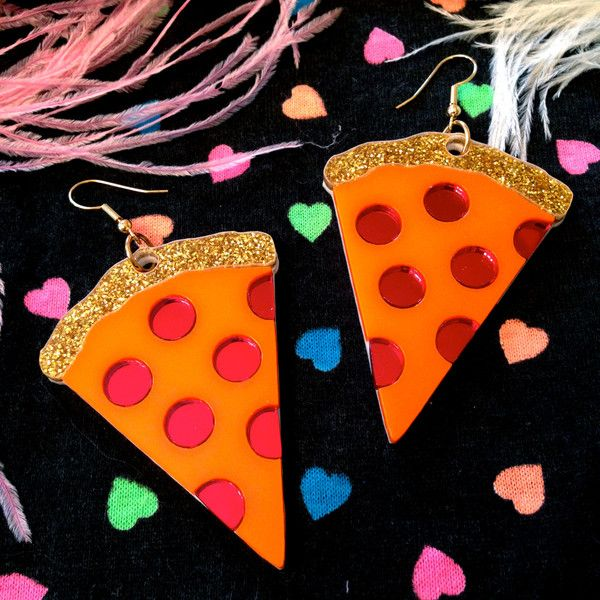 Pizza Laser Cut Acrylic Earrings ($22) ❤ liked on Polyvore featuring jewelry…