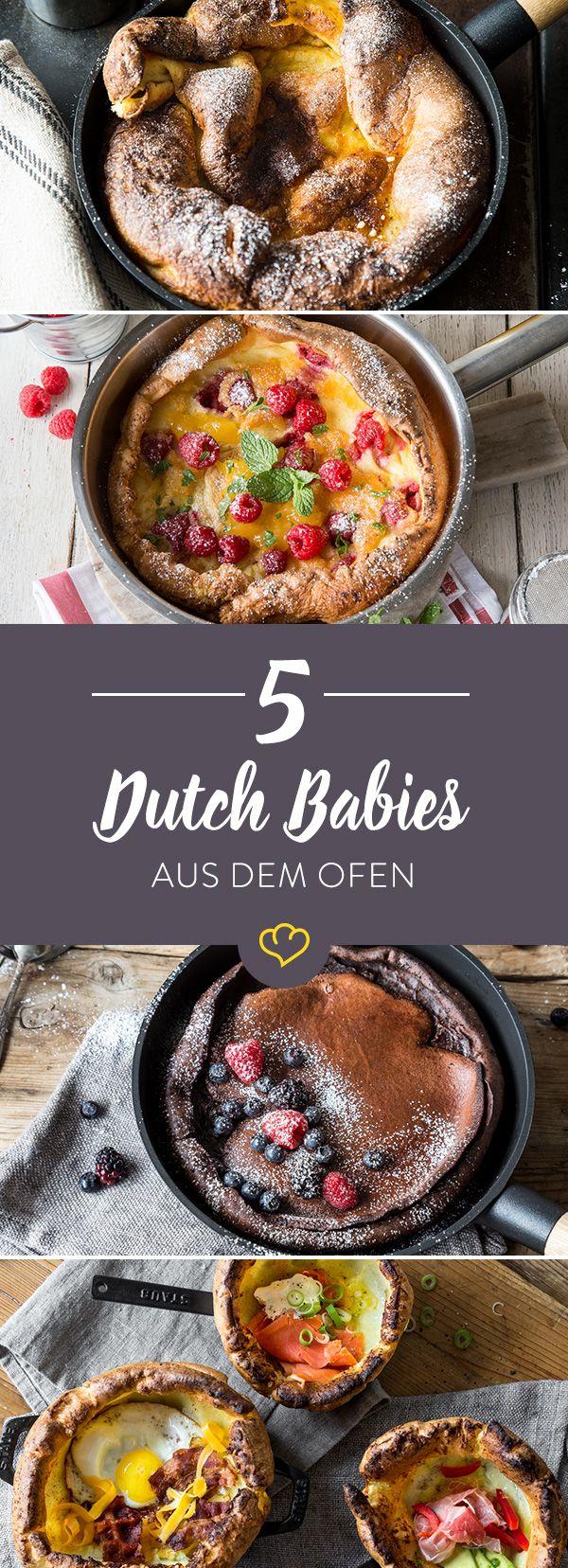 Gibst du Pfannkuchen in den Ofen werden sie zu Dutch Babies und unglaublich fluffig. Wir zeigen dir schokoladige, fruchtige und herzhafte Variationen.