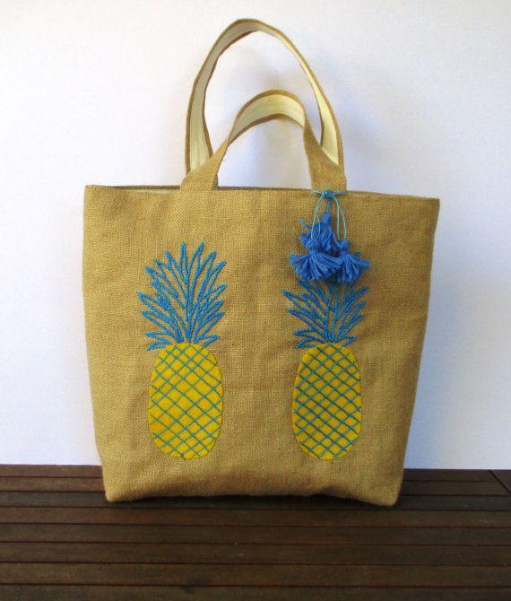 Pineapple beach tote bag handmade jute tote handbag by Apopsis