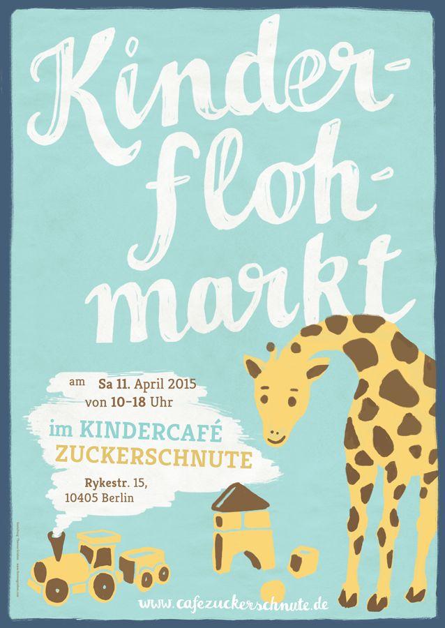 Poster for a kids flea market (Kinderflohmarkt) in Berlin, Illustration by Theresa Grieben