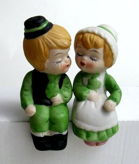 Vintage Salt & Pepper Shakers Kissing Boy and by OkieWomen on Etsy