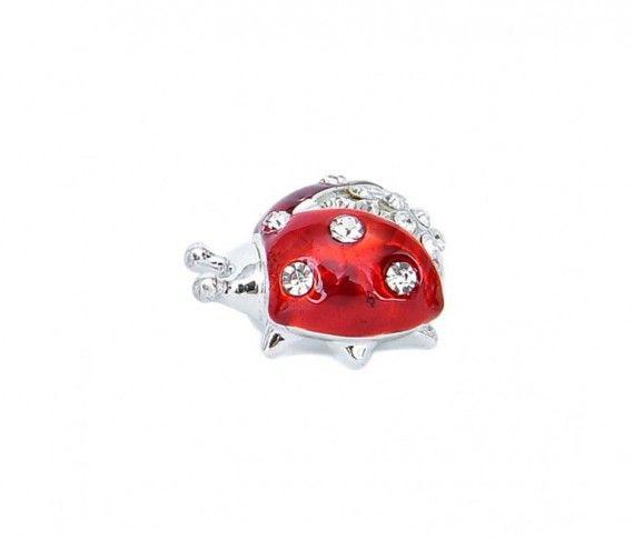 2,50 € - Coccinella rossa con strass incastonati, ideale per ogni cerimonia, dimensione cm. 4,5