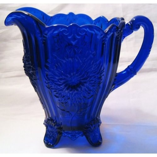 Cobalt Blue Glass Dahlia Footed Lemonade Pitcher: Amazon.com: Kitchen & Dining