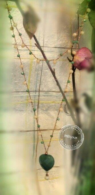Collana crochet cuore di giada