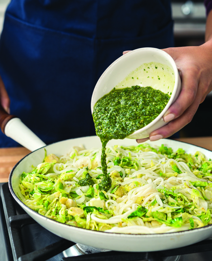 """Pesto """"Zoodles"""" with Brussels Sprouts - Hello HealthyHello Healthy"""