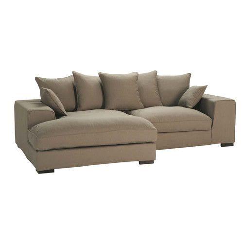 4-seat corner sofa in taupe - Bruges