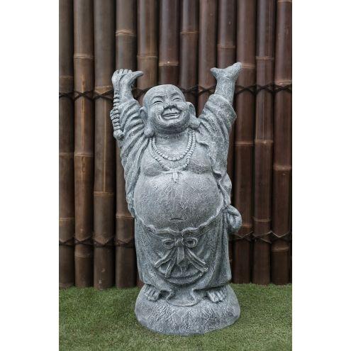 Statue Bouddha rieur debout 100 cm Gris