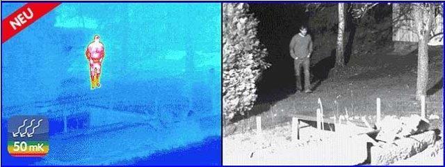 Videoüberwachung mit Wärmebildsensor und Normal Objektiv