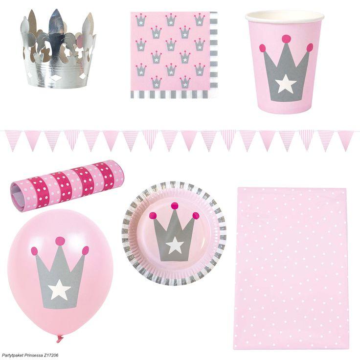 En flott festpakke fra JaBaDaBaDo med alt du trenger til barnebursdagen.<br><br>Pakken inneholder:<br>- 8 kopper (9 cm).<br>- 8 tallerkener (Ø23 cm).<br>- 20 servietter (16,5 x 16,5 cm).<br>- 8 ballonger.<br>- 1 duk (80 x 130 cm).<br>- 2 serpentiner.<br>- 1 stk line med 18 vimpler (4,7 m).<br>- 4 prinsessekroner. (Ø 13 cm).<br>.<br>Materiale: plast, papir, gummi.<br><br>Farge: rosa.<br>