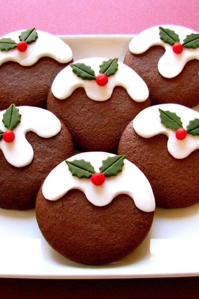 Cookies made to look like christmas puddings!: