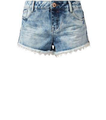 Blue Denim Crochet Trim Shorts