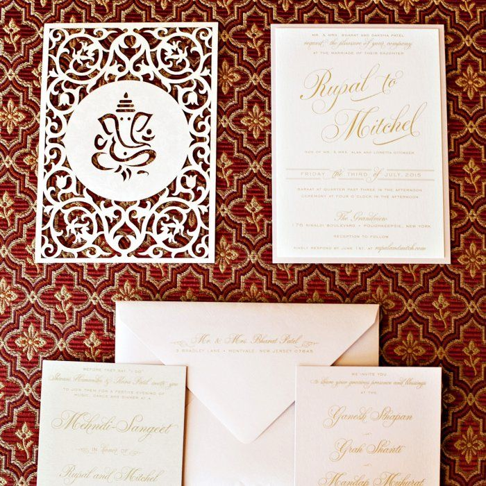 Sudz And Ink Designed The Couples Intricate Laser Cut Invitations Featuring Lord Ganesh InvitationInvitation CardsIndian