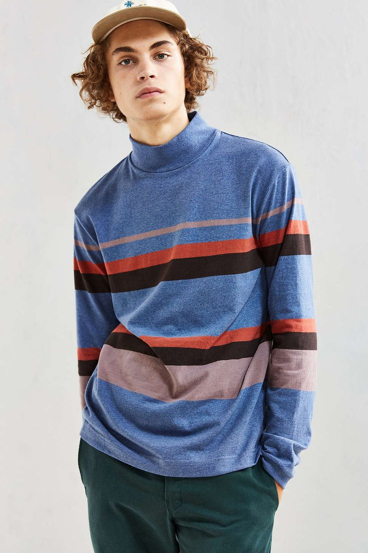 UO Box Fit Stripe Mock Neck Long-Sleeve Tee - Urban Outfitters