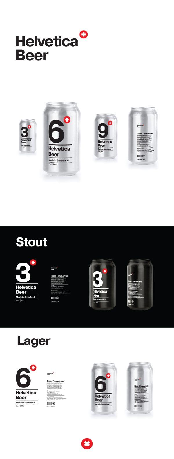 Helvetica beer by Sasha Kischenko, via Behance