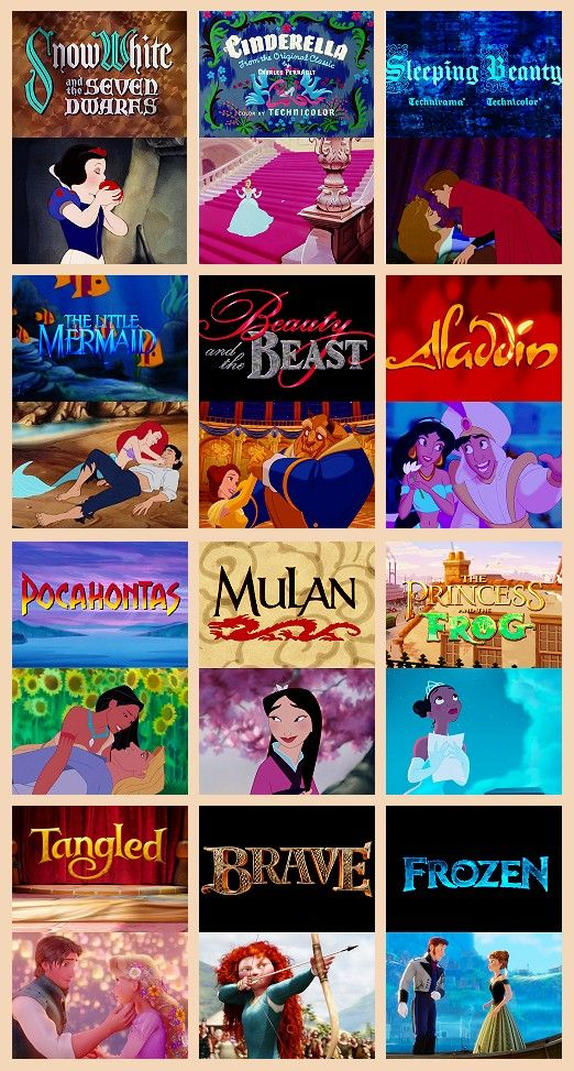 Disney Princesses (Frozen and the Beauty and the Beast are the best princess movies)